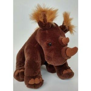 "Rhino Plush Brown Horn 9"" Rhinoceros Rhino plush"